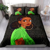 Green African Girl Bedding Set