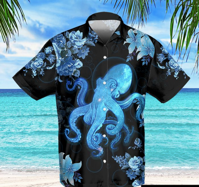 Neon Blue Octopus Hawaii Shirt
