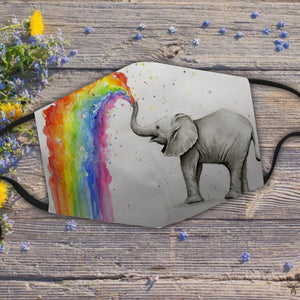 Baby Elephant Spraying Rainbow