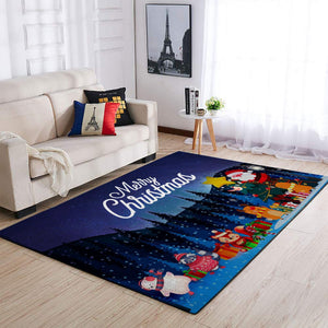 CHRISTMAS RUG MERRY CHRISTMAS SANTA AND ANIMALS RUG FULL SIZE