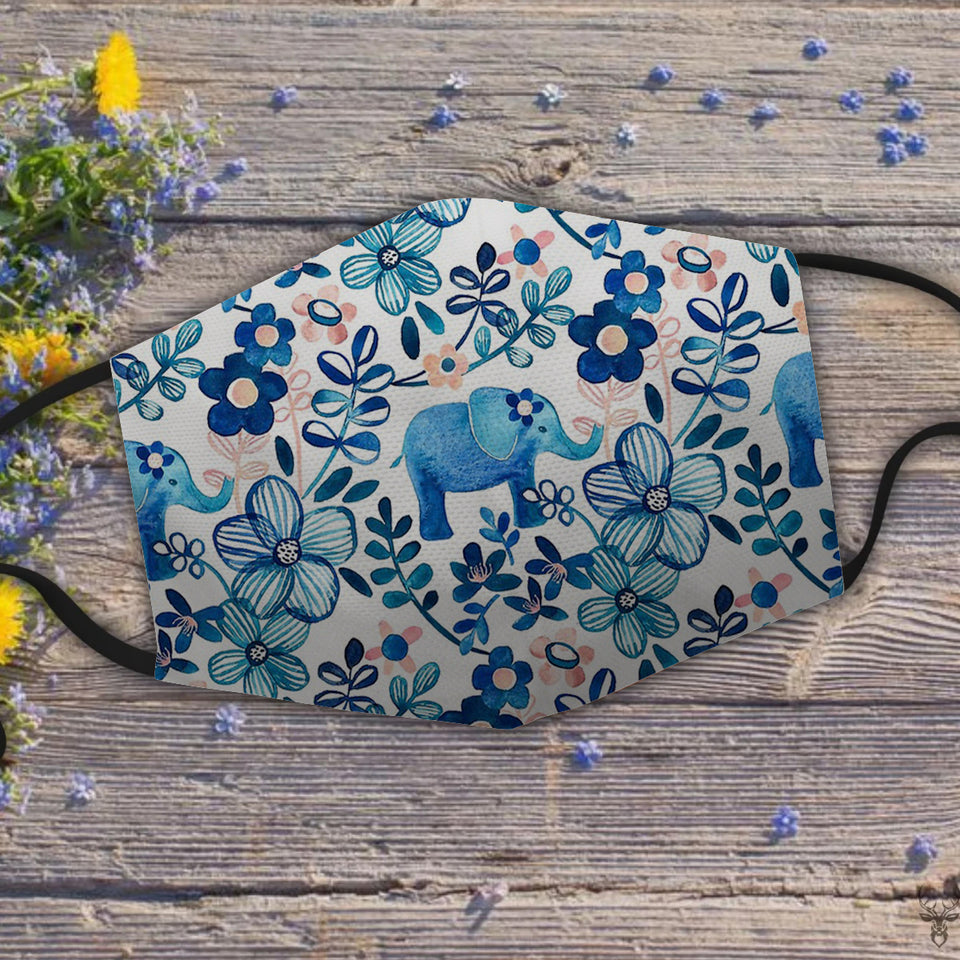 Blush Pink, White and Blue Elephant and Floral