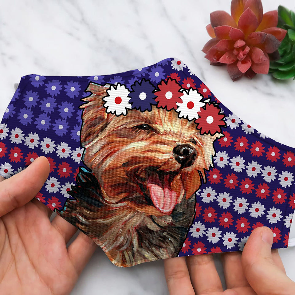 FLOWER AMERICAN FLAG WITH YORKSHIRE TERRIER BN293