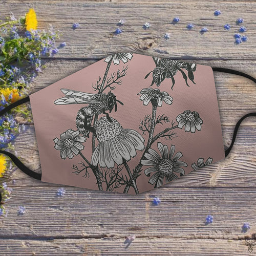 bees and chamomile on dusty pink