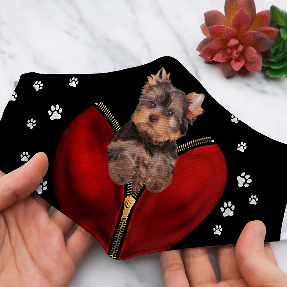DOGS YORKSHIRE TERRIER PUPPY INSIDE ZIPPER HP84