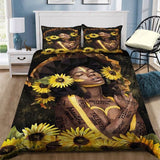 Black Girl Sunflower Talented And Smart Enough Bedding Set