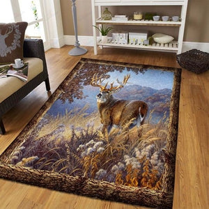 Hunting Deer At Forest Bedding Rug