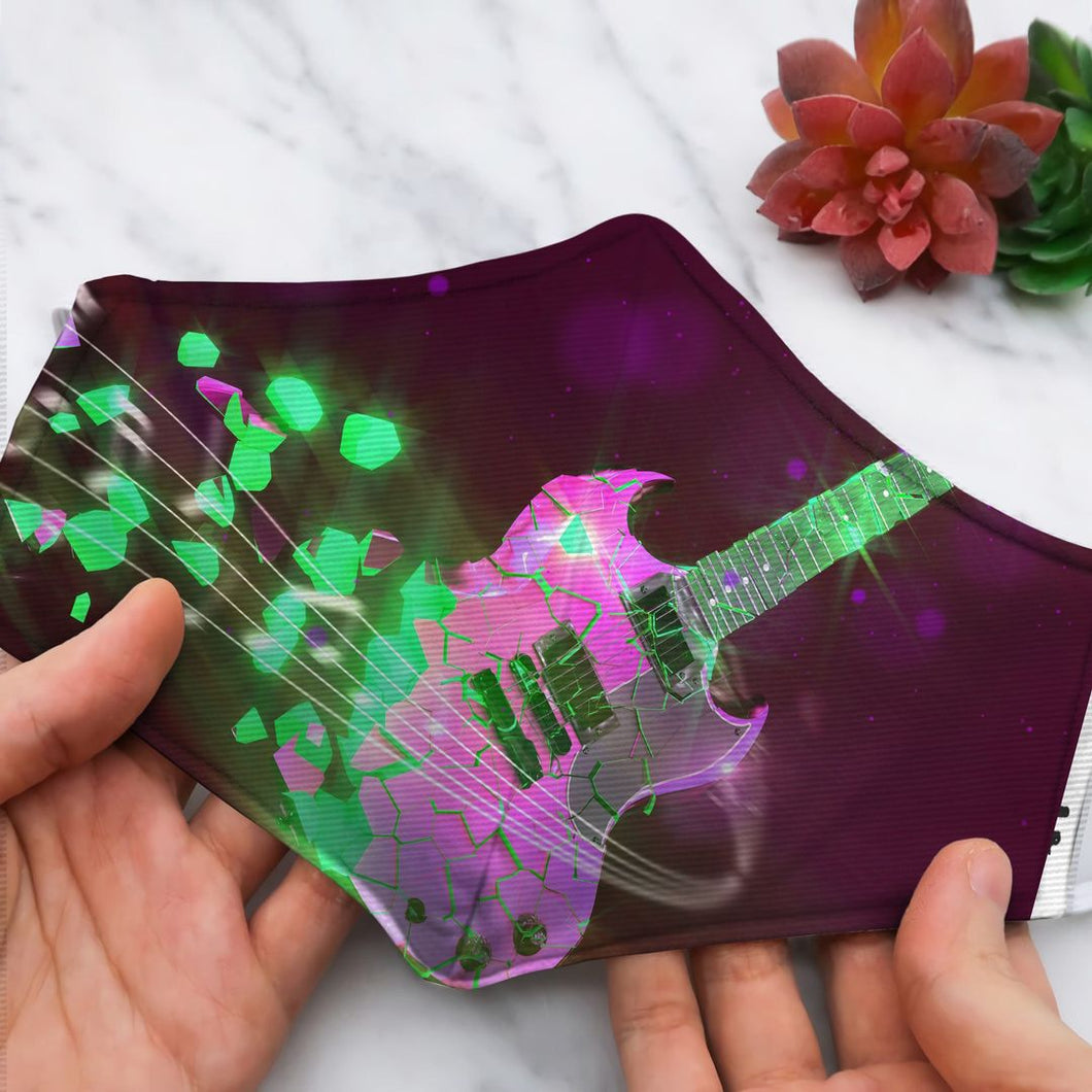 GUITAR PINK WITH MUSIC NOTE WAVE