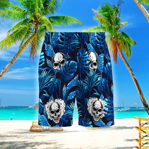 SKULL BLUE HAWAIIAN SHORT