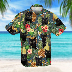 PINEAPPLE BLACK CAT HAWAIIAN SHIRT