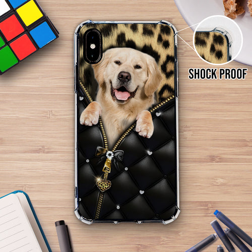 Golden Retriever Leopard Zip Phonecase