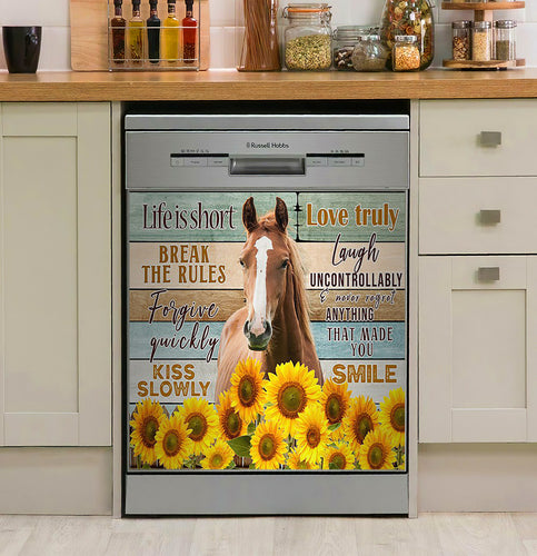 Horse Life Is Short Break The Rules Decor Kitchen Dishwasher Cover