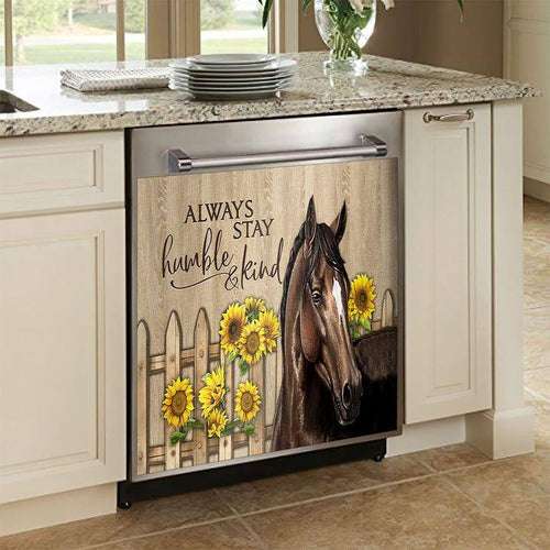 Horse Sunflower Decor Kitchen Dishwasher Cover