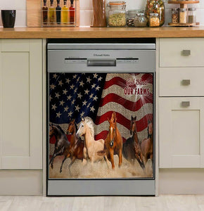 Horses God Bless Our Farms Decor Kitchen Dishwasher Cover