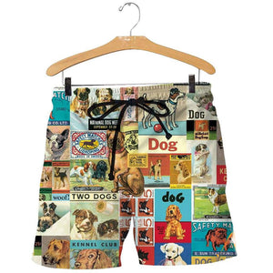 3D All Over Printed Vintage Dogs Short