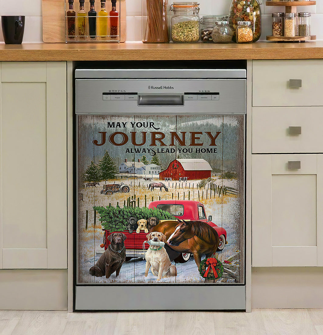 Horse Dog May Your Journey Leads You Home Decor Kitchen Dishwasher Cover