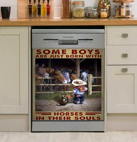 Some Boys Are Just Born With Horses  Decor Kitchen Dishwasher Cover
