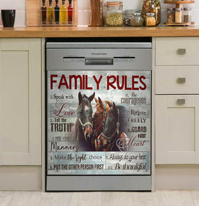 Family Rules Horse Decor Kitchen Dishwasher Cover