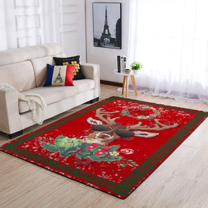 CHRISTMAS RUG COOL CHRISTMAS DEER RED AREA RUG FULL SIZE
