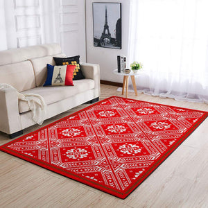 CHRISTMAS RUG RED BROCADE PATTERN AREA RUG FULL SIZE