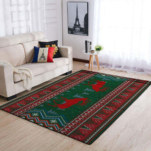 CHRISTMAS RUG TWO DEERS BROCADE PATTERN AREA RUG FULL SIZE