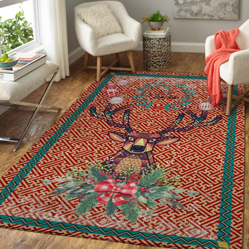 CHRISTMAS RUG BROCADE PATTERN DEER AREA RUG FULL SIZE
