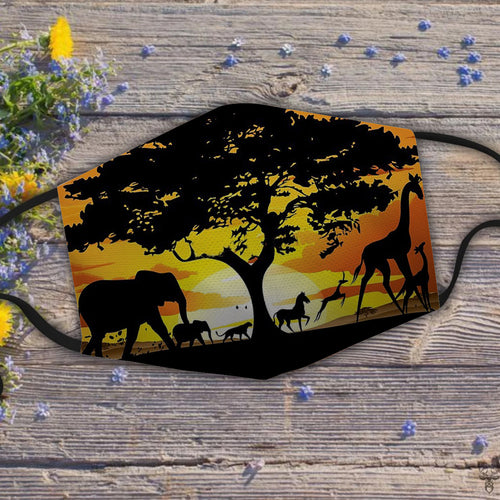 Wild Animals on African Savanna Sunset