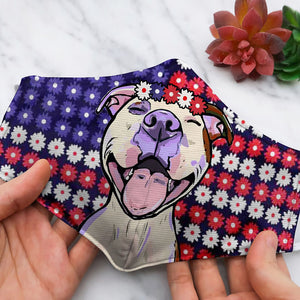 FLOWER AMERICAN FLAG WITH PITBULL DC45