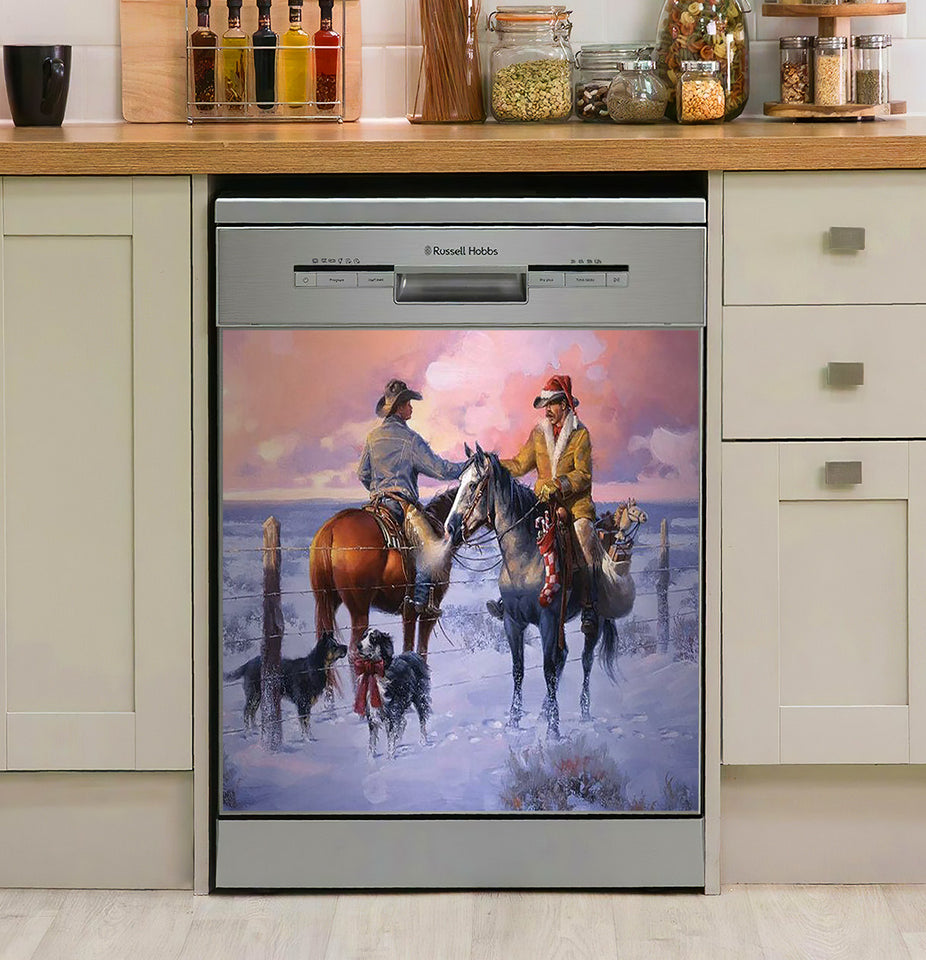 Sharin Christmas With The Neighbors Horse Decor Kitchen Dishwasher Cover
