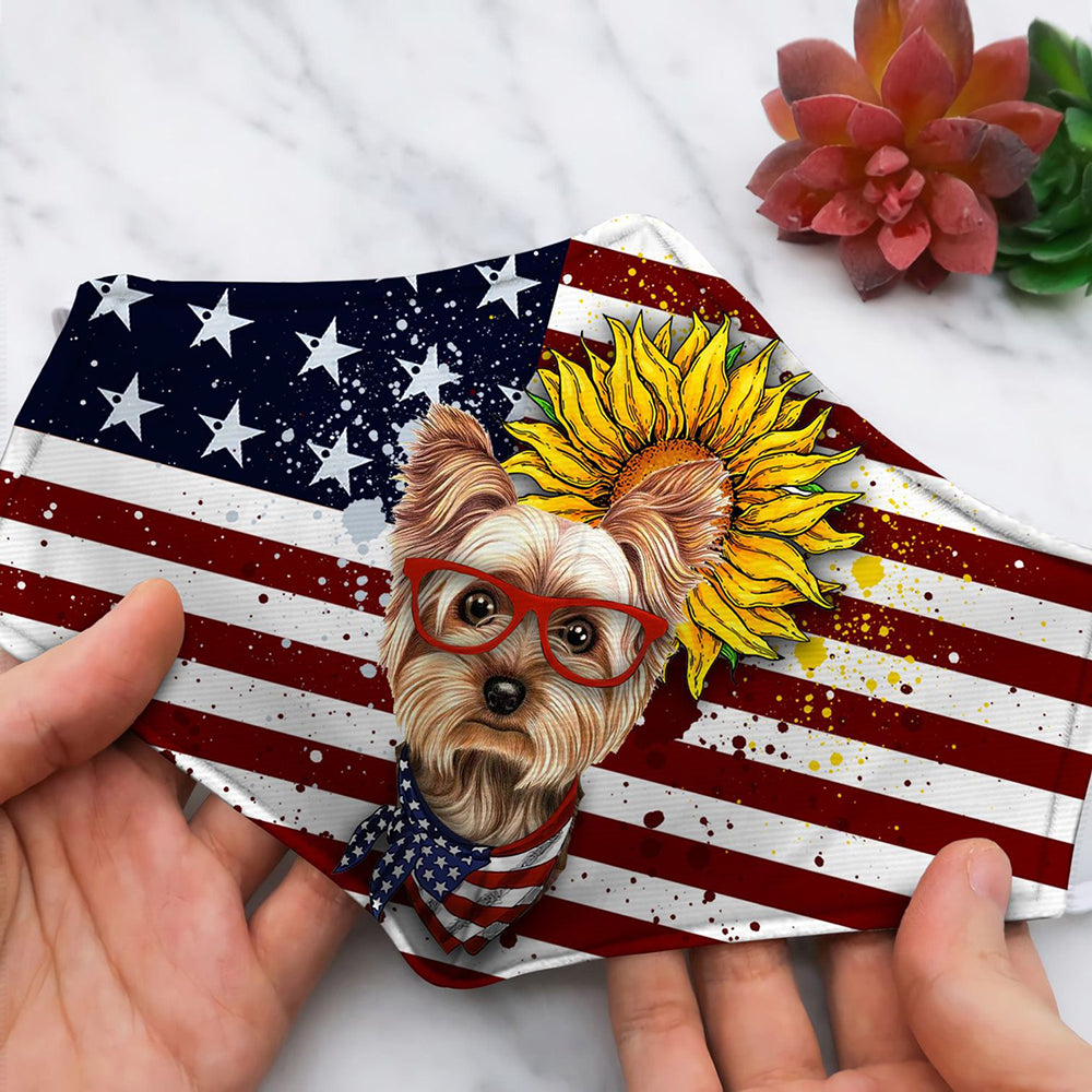 YORKSHIRE TERRIER FORM SUN FLOWER USA FLAG