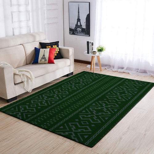 CHRISTMAS RUG GREEN BROCADE PATTERN AREA RUG FULL SIZE