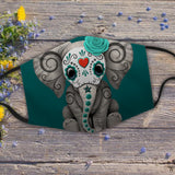 Teal Blue Day of the Dead Sugar Skull Baby Elephant