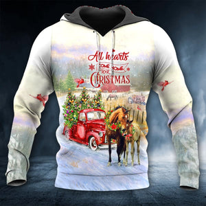 HORSE ALL HEARTS COME HOME FOR CHRISTMAS HOODIE 3D ALL OVER PRINTED
