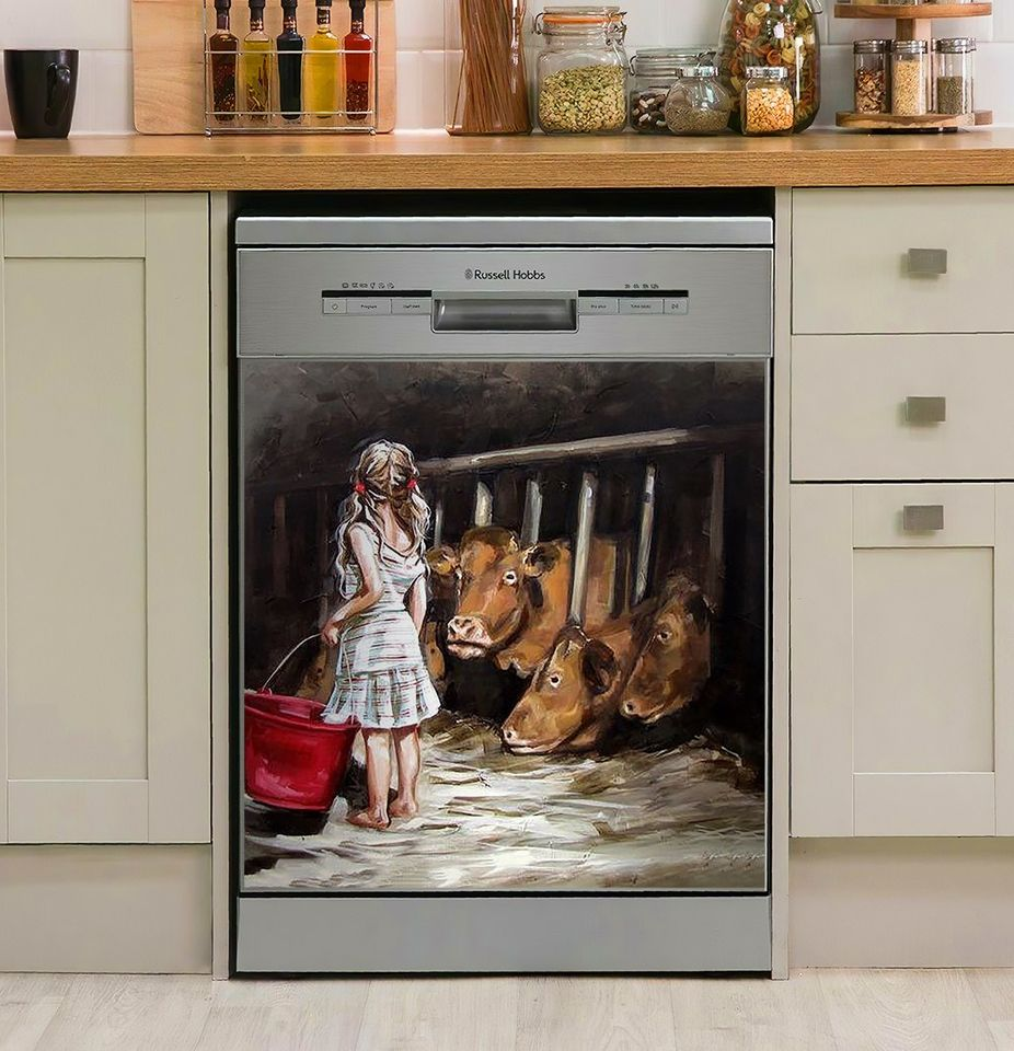 Feeding The Cows Decor Kitchen Dishwasher Cover
