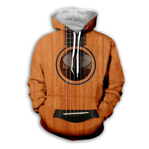 3D Brown Wooden Guitar Hoodie