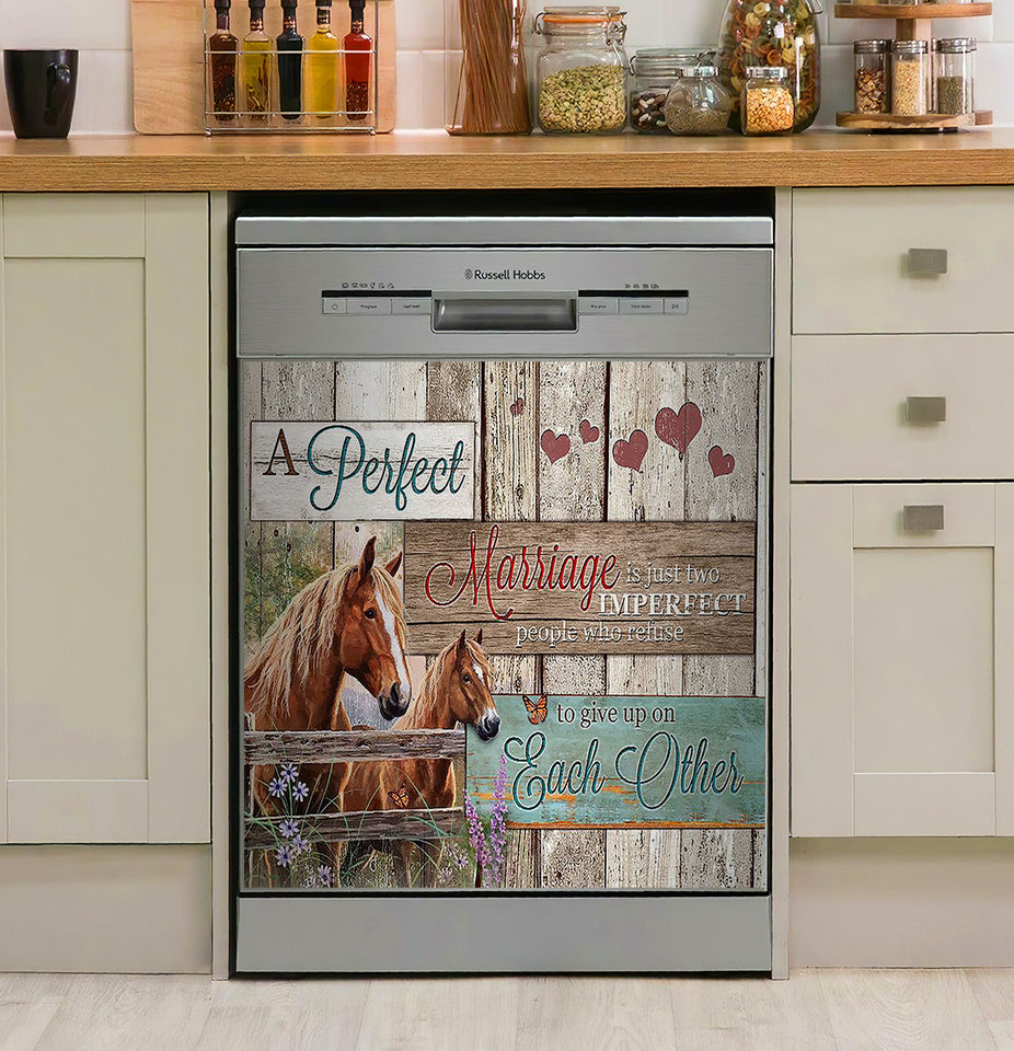 A Perfect Marriage Horse Decor Kitchen Dishwasher Cover