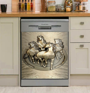Horses Illustration Decor Kitchen Dishwasher Cover