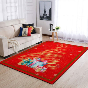 CHRISTMAS RUG CHRISTMAS TREE RED AREA RUG FULL SIZE