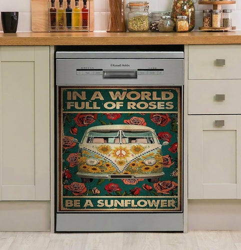 Hippie In A World Full Of Roses Decor Kitchen Dishwasher Cover