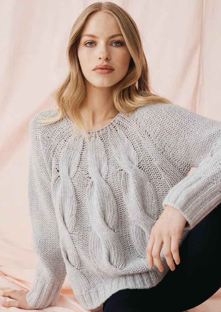 Shimmer Cable Sweater - Fly Ash