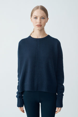 Isabella Crop Sweater - Mariner