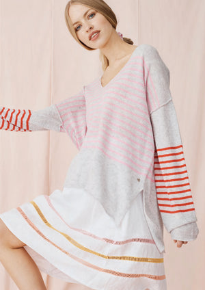 Load image into Gallery viewer, Florence Sweater Ash/Pink