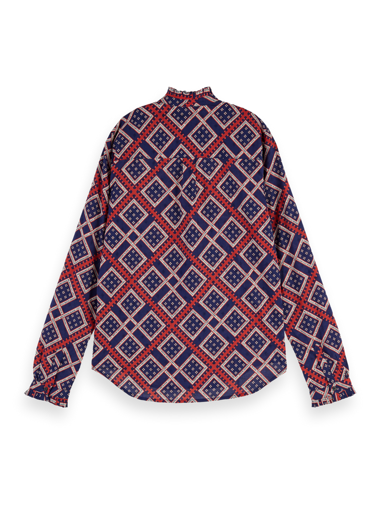 All-Over Printed Blouse - Red/Blue