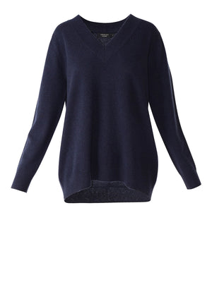 Marta Cashmere V Neck - Crystal Blue