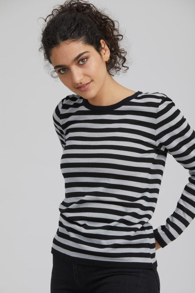 Load image into Gallery viewer, Stripe Jumper - Soft Grey/Navy