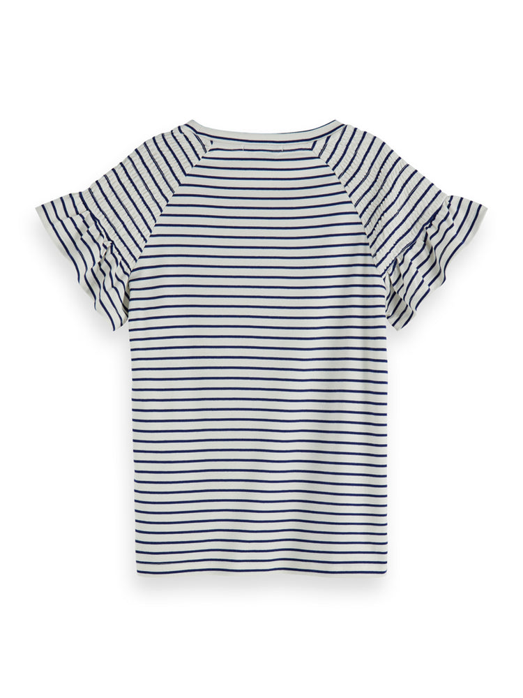 Striped tee with smocked short sleeve