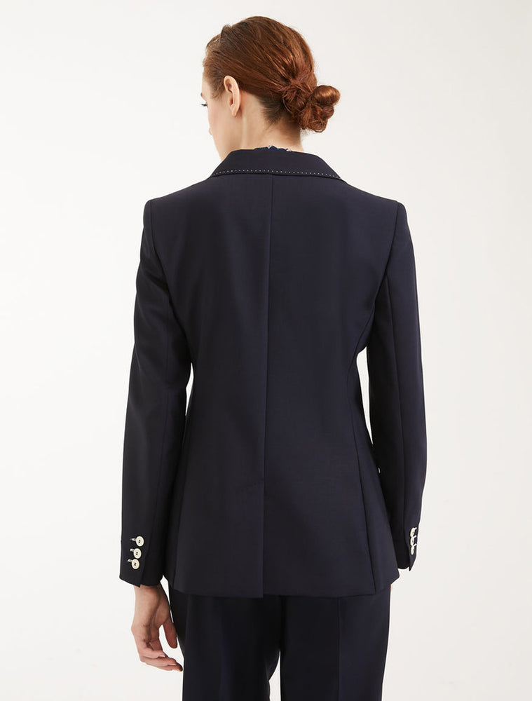 Load image into Gallery viewer, Plain Weave Blazer - Navy