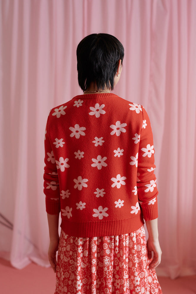 The Concept of Time sweater - Red daisy
