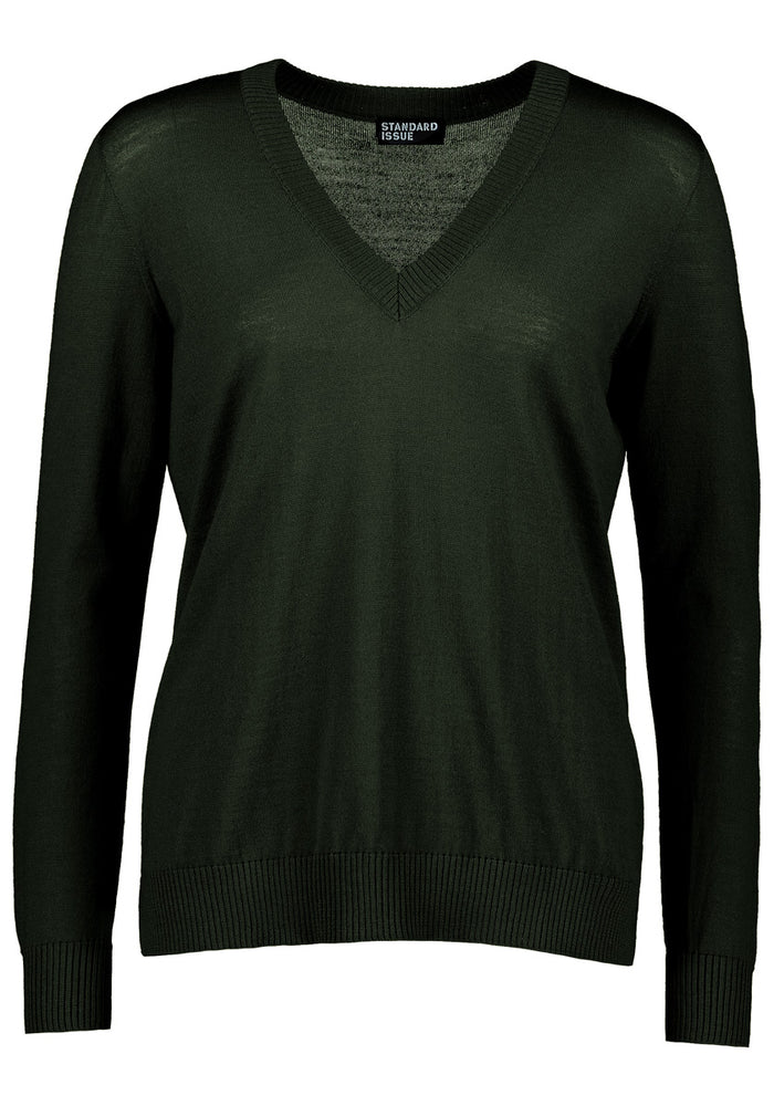 V Neck Sweater - Army
