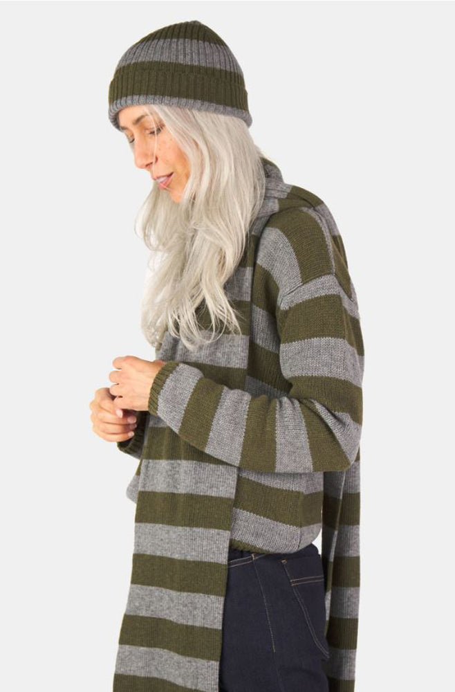 Load image into Gallery viewer, Woolly Stripe Scarf - Olive/Grey