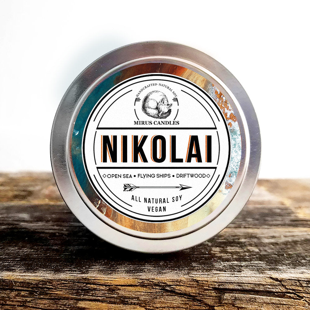 Nikolai Soy Candle | Grisha Inspired Candle - King of Scars - Bookish Candle - 4oz All Natural Vegan Soy- Mirus Candles